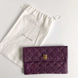 Purple Studded Mar Jacobs Envelope Clutch Wallet